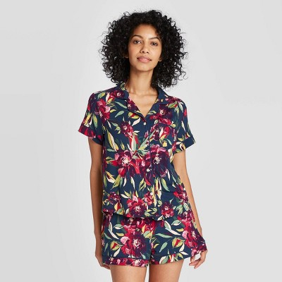 Women's Floral Print Beautifully Soft Short Sleeve Notch Collar and Short Pajama Set - Stars Above™ Navy M
