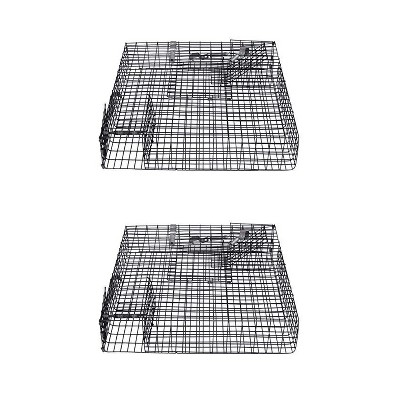 Rugged Ranch CHPTO Chipmunkinator Large Metal Wire Live Chipmunk Catch & Release Trap Cage w/ Easy Open Top Lid & 2 Door System, Black (2 Pack)