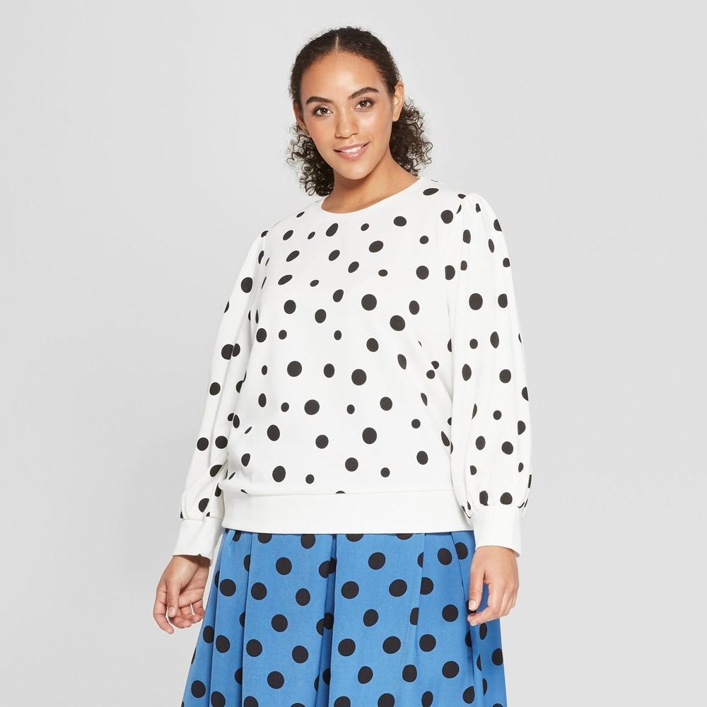 Women's Plus Size Polka Dot Long Sleeve Sweatshirt - Who What Wear White/Black X, White/Black Polka Dot