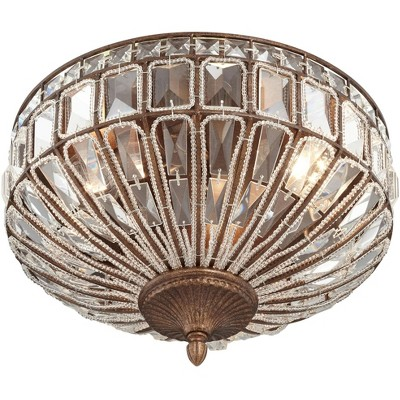 "Vienna Full Spectrum Ceiling Light Flush Mount Fixture Square Cut Crystal Mocha Brown 15.5"" wide Bedroom Kitchen"