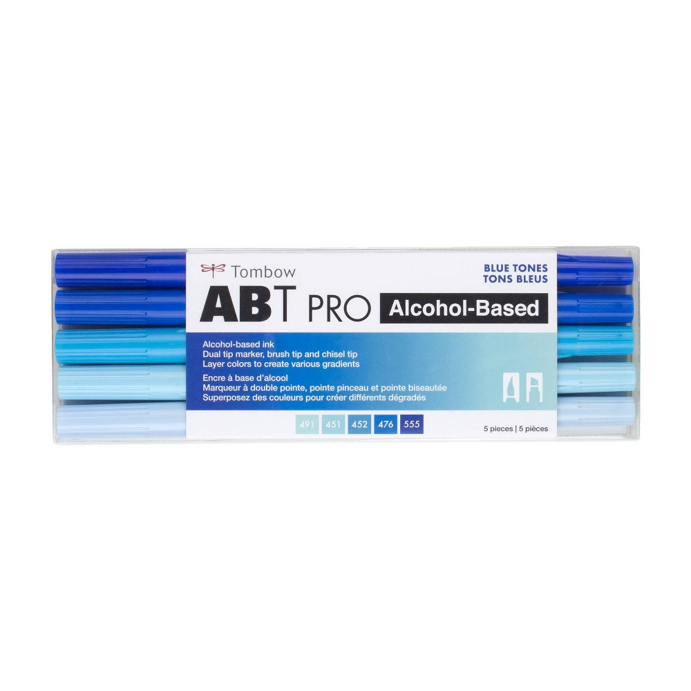 5ct Abt Pro Dual Tip Alcohol Based Art Markers Blue Tones Tombow