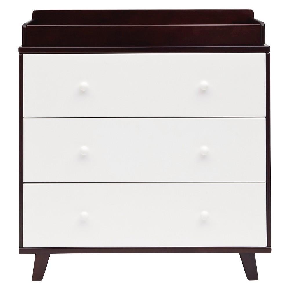 Delta Children Ava 3 Drawer Dresser with Changing Top - Black Espresso, Dark Chocolate/White