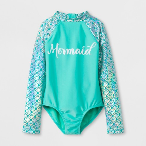 731602691 Girls' Long Sleeve One Piece Swimsuit - Cat & Jack™ Mint : Target