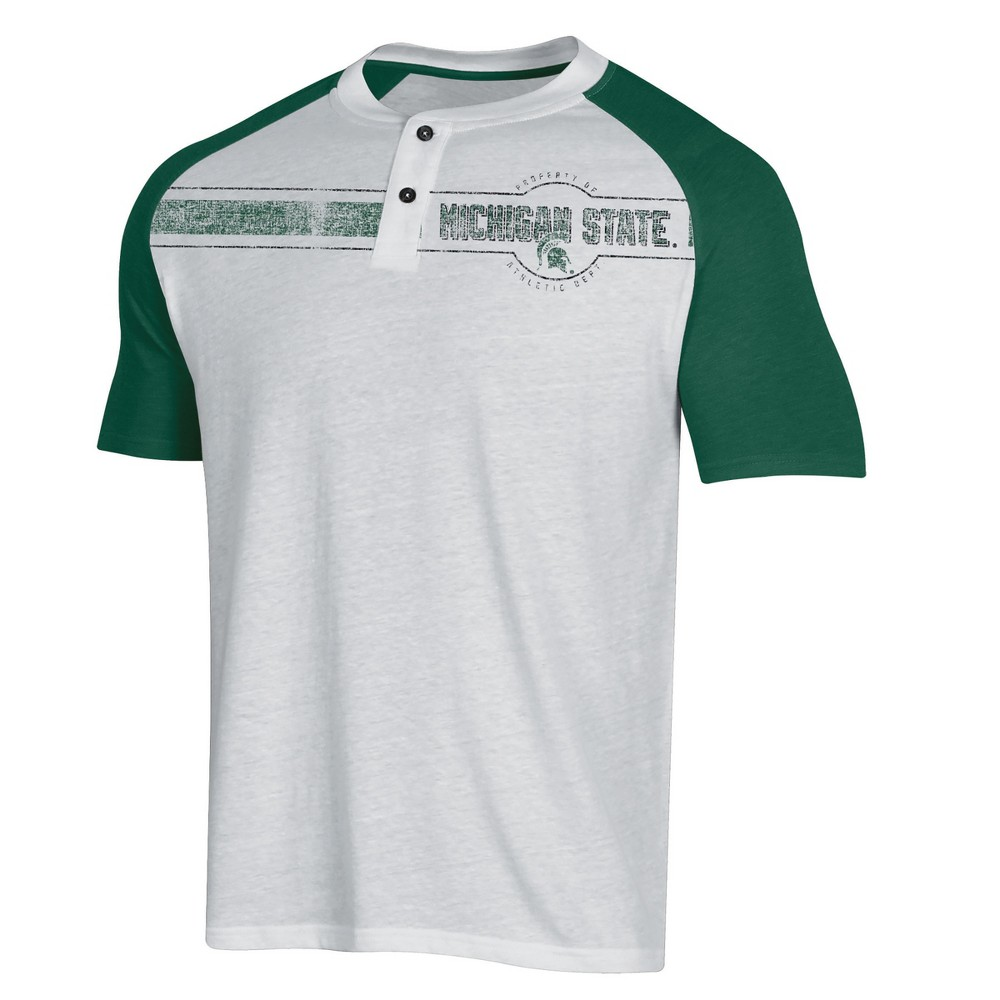 NCAA Men's Raglan Henley T-Shirt Michigan State Spartans - XL, Multicolored