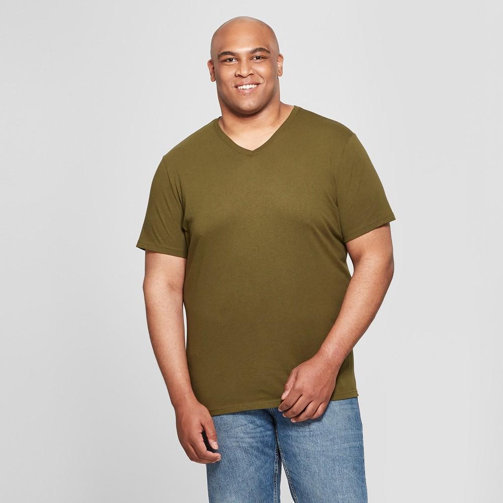 Men's Tall V-Neck Short Sleeve T-Shirt - Goodfellow & Co Military Green LT