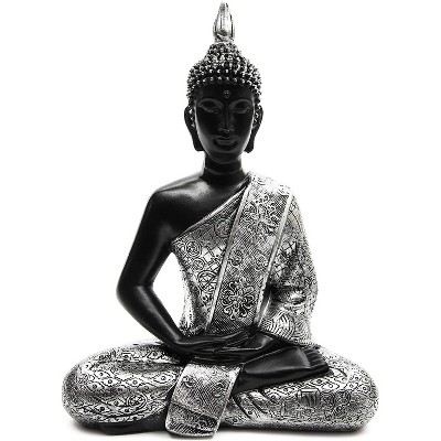"""Juvale Meditating Buddha Statue for Home and Garden Decor, Resin, Black & Silver, 11"""""""