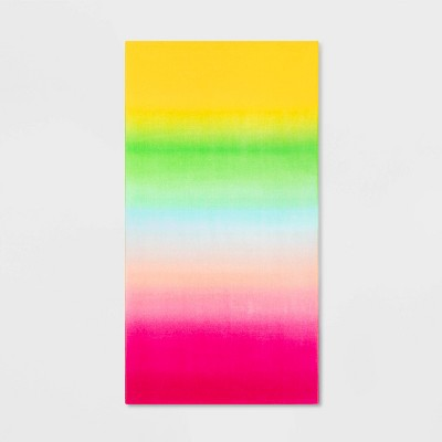 Printed Ombre Beach Towel Pink/Green - Sun Squad™