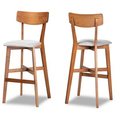 2pc Cameron Wood Counter Height Barstools Gray/Walnut/Brown - Baxton Studio