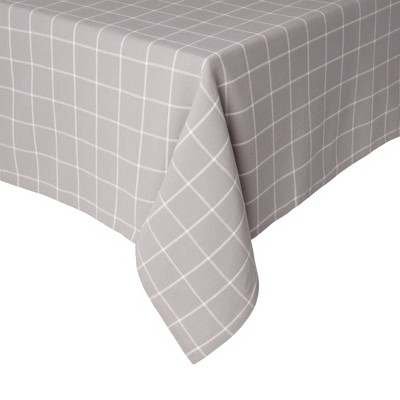 """102"""" x 60"""" Cotton Window Pane Tablecloth Gray - Town & Country Living"""