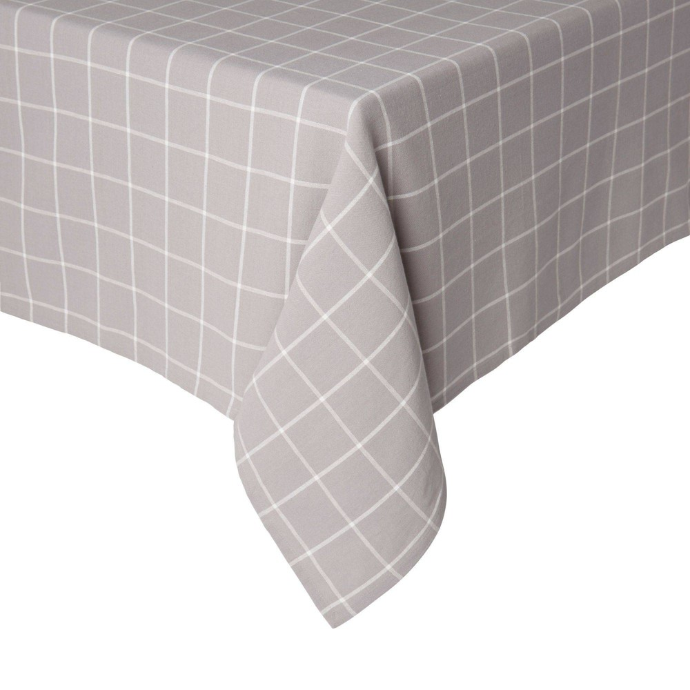 "Image of ""102"""" x 60"""" Cotton Window Pane Tablecloth Gray - Town & Country Living"""