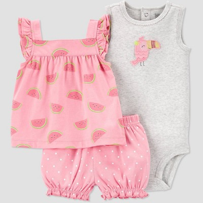 Baby Girls' Watermelon Top & Bottom Set - Just One You® made by carter's Pink 6M