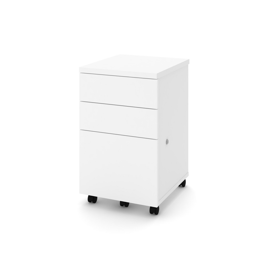 Image of 3 Drawer Assembled Mobile Pedestal File Cabinet White - Bestar