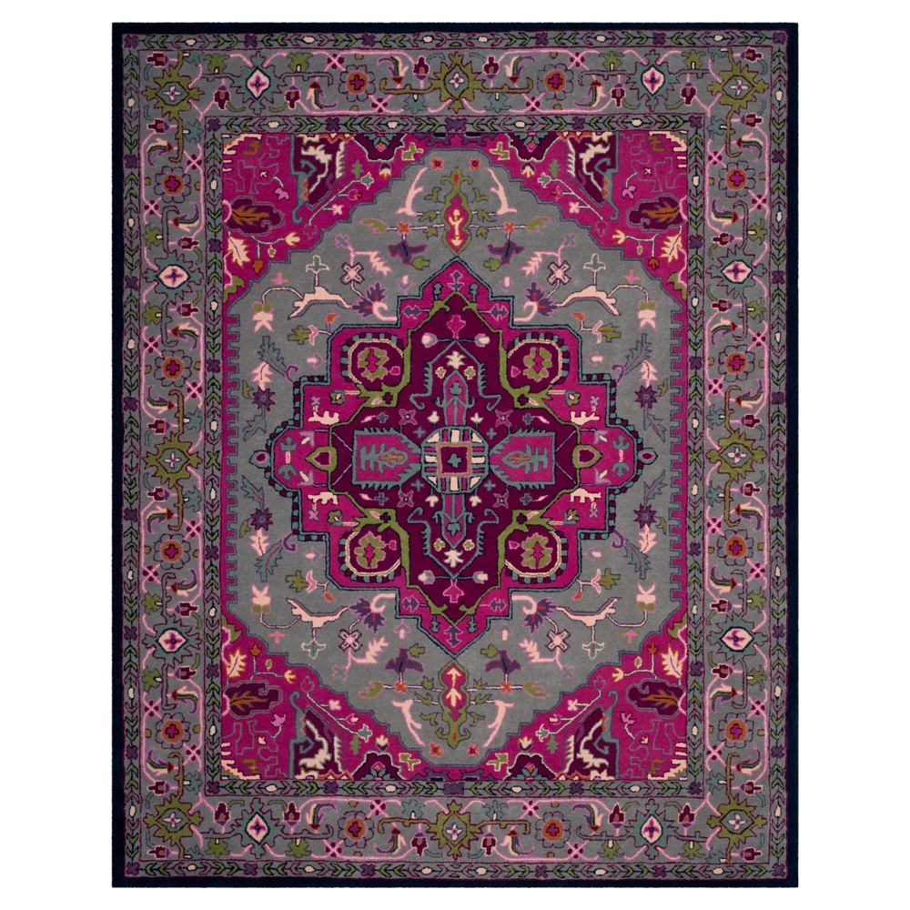 Gray/Pink Medallion Tufted Area Rug 6'x9' - Safavieh