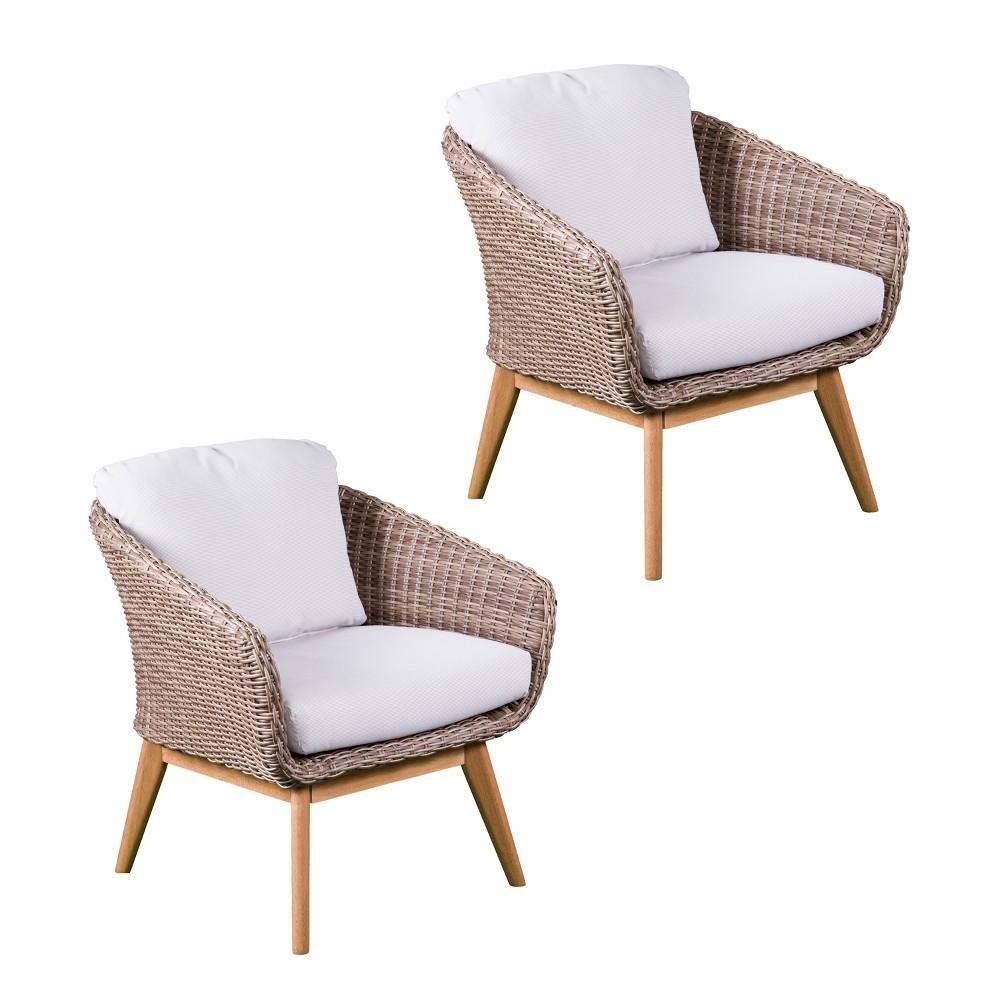 Image of 2pc Artemis Cushioned Outdoor Armchairs Set Multi Tonal Beige - Aiden Lane