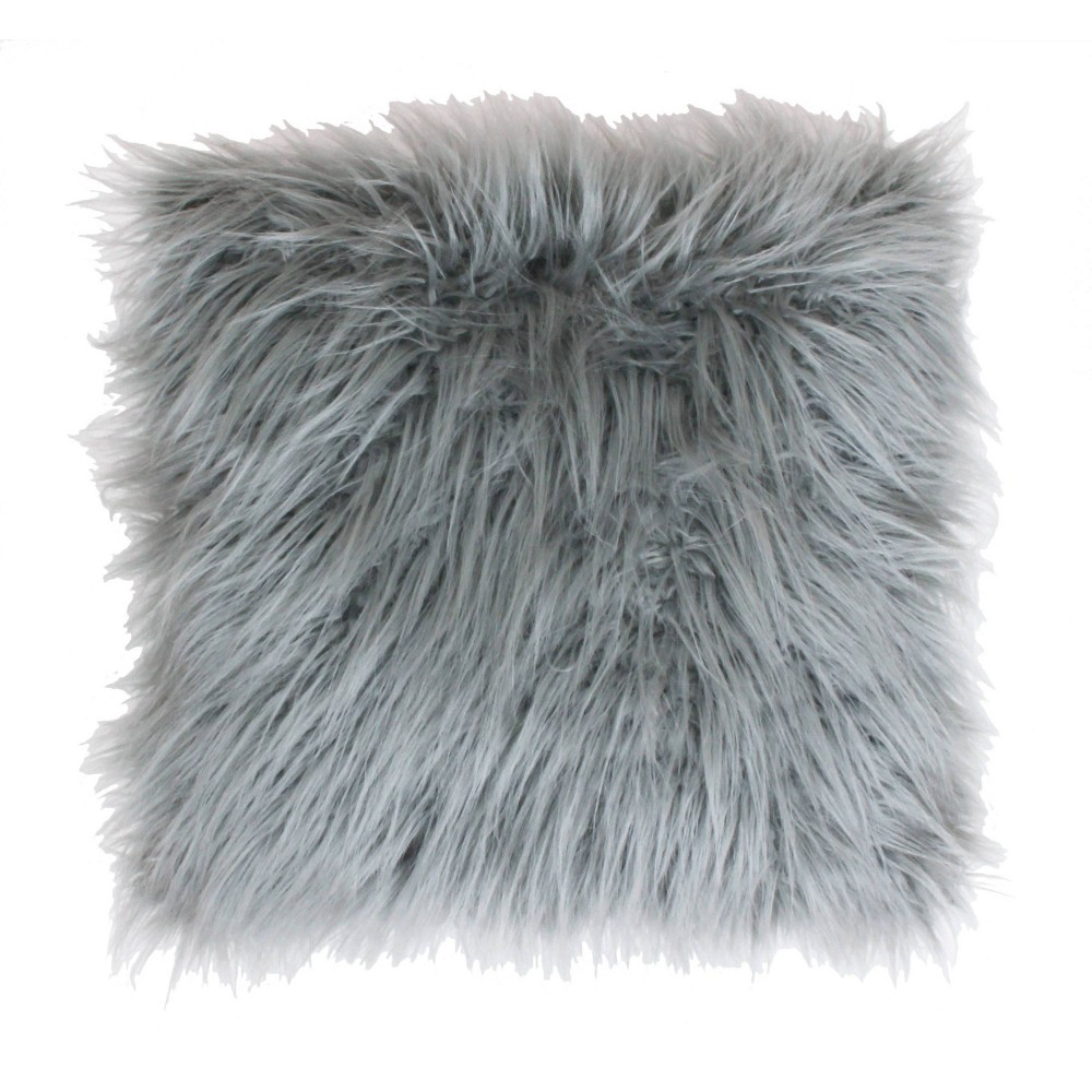 26 34 X26 34 Keller Faux Mongolian Reverse To Micromink Oversized Square Pillow Silver D 233 Cor Therapy