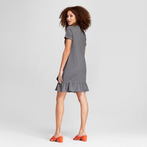 775daab7bb66 Women's Short Sleeve Asymmetrical Ruffle Hem T-Shirt Dress - A New Day™  Heather Gray