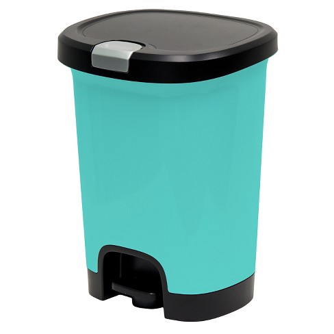 Hefty 7 Gallon Step On Trash Can With Locking Lid - Pool Blue - image 1 of 4