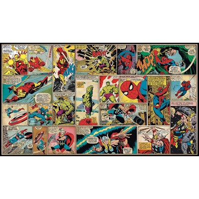 6'x10.5' XL Marvel Comic Panel Chair Rail Prepasted Mural Ultra Strippable - RoomMates