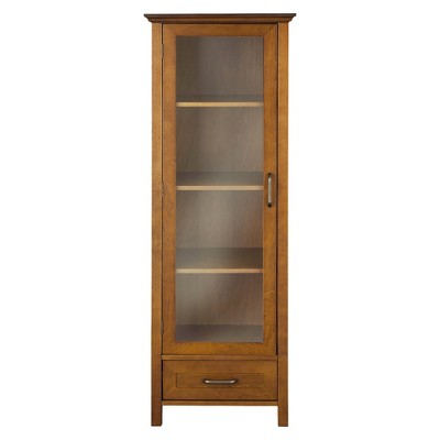 Avery Linen Cabinet with 1 Door Oil Oak Brown - Elegant Home Fashions