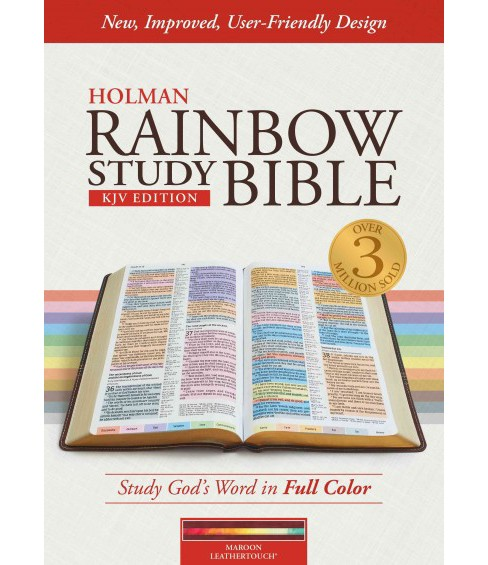 Holy Bible : KJV Rainbow Study Bible, Maroon Leathertouch (Paperback) - image 1 of 1