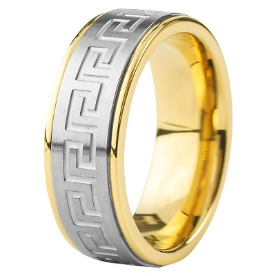 Men's Crucible Goldplated Stainless Steel Silvertone Maze Ring
