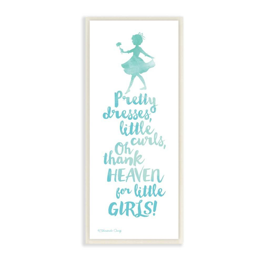 """Image of """"7""""""""x0.5""""""""x17"""""""" Thank Heaven For Little Girls Blue Watercolor Typography Wall Plaque Art - Stupell Industries"""""""