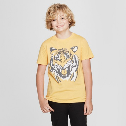 Boys' Short Sleeve Tiger Graphic T-Shirt - Cat & Jack™ Yellow - image 1 of 3
