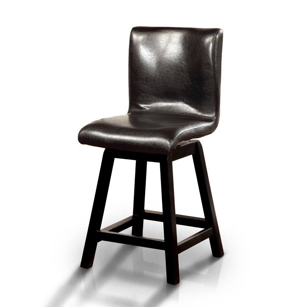 ioHomes Curved Body Swivel Counter Side Chair Wood/Black (Set of 2)