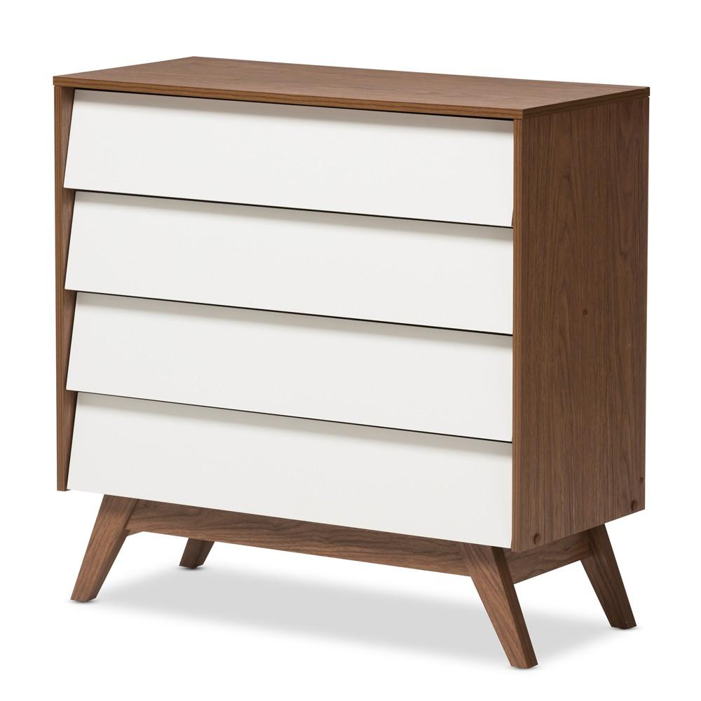 Hildon Mid - Century Modern Wood 4 - Drawer Storage Chest - Brown - Baxton Studio, White