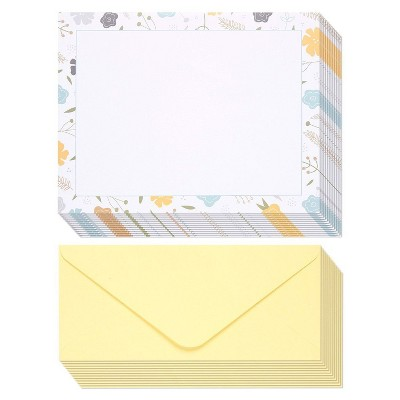 """Stationery Paper - 48 Pack Floral Themed Printed Paper with Envelopes printer Handwriting, Letterhead, 8.5x11"""" Letter-Size Sheets with 4.1x9.2"""""""