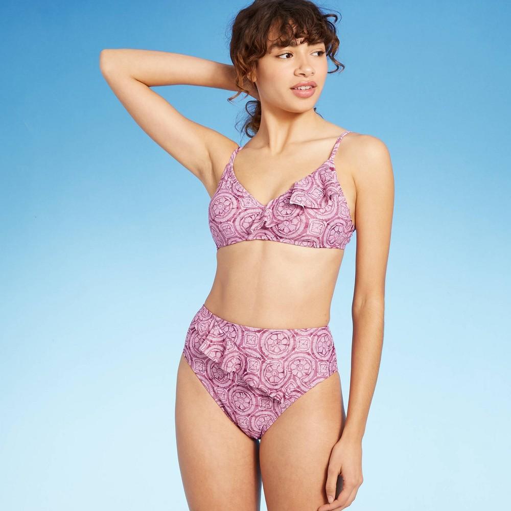 Women 39 S Asymmetrical Ruffle Front Bralette Bikini Top Shade 38 Shore 8482 Mauve Tile Print Xl