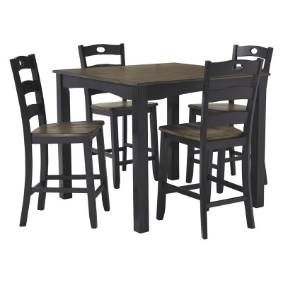 Set Of 5 Froshburg Square Counter Table Black Brown