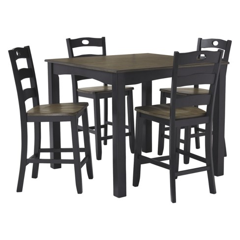 Set of 5 Froshburg Square Counter Table Set Black/Brown - Signature Design by Ashley - image 1 of 5