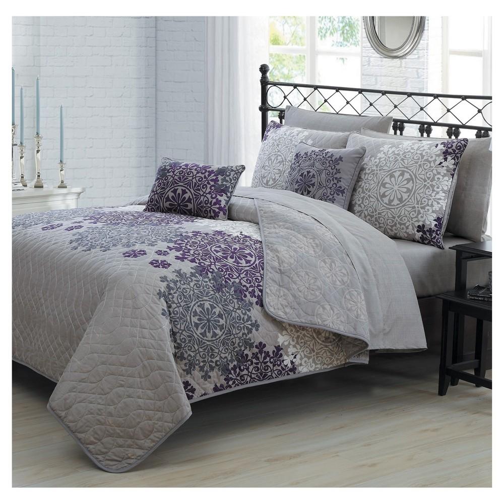 Plum (Purple) Amber Quilt Set (Queen) 9pc