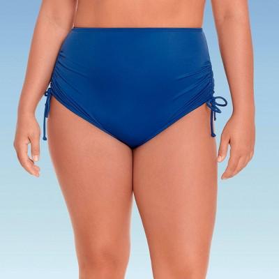 Women's Plus Size High Waist Side-Tie Bikini Bottom - Beach Betty by Miracle Brands Navy