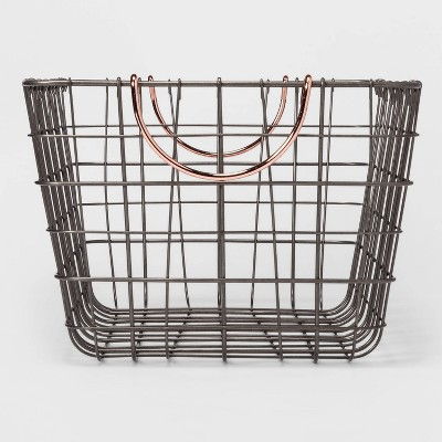 "16""x11""x8"" Wire Basket with Handle Gray/Copper - Threshold™"