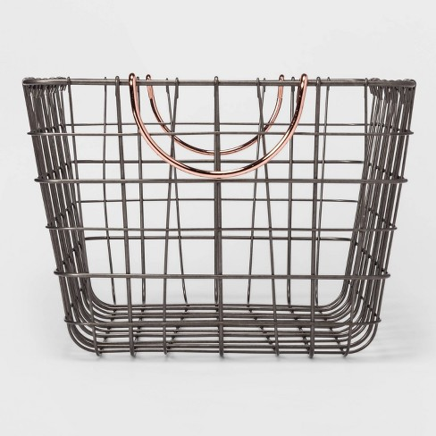 """16""""x11""""x8"""" Wire Basket with Handle Gray/Copper - Threshold™ - image 1 of 3"""