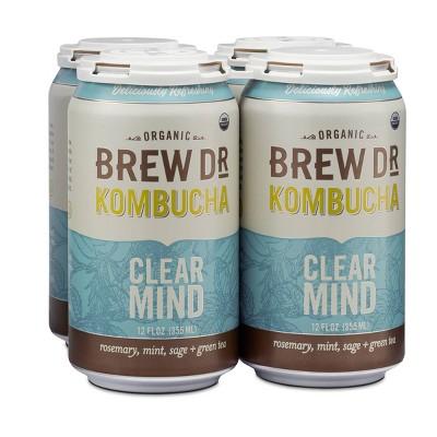 Brew Dr. Kombucha Clear Mind - 12 fl oz Cans/4pk