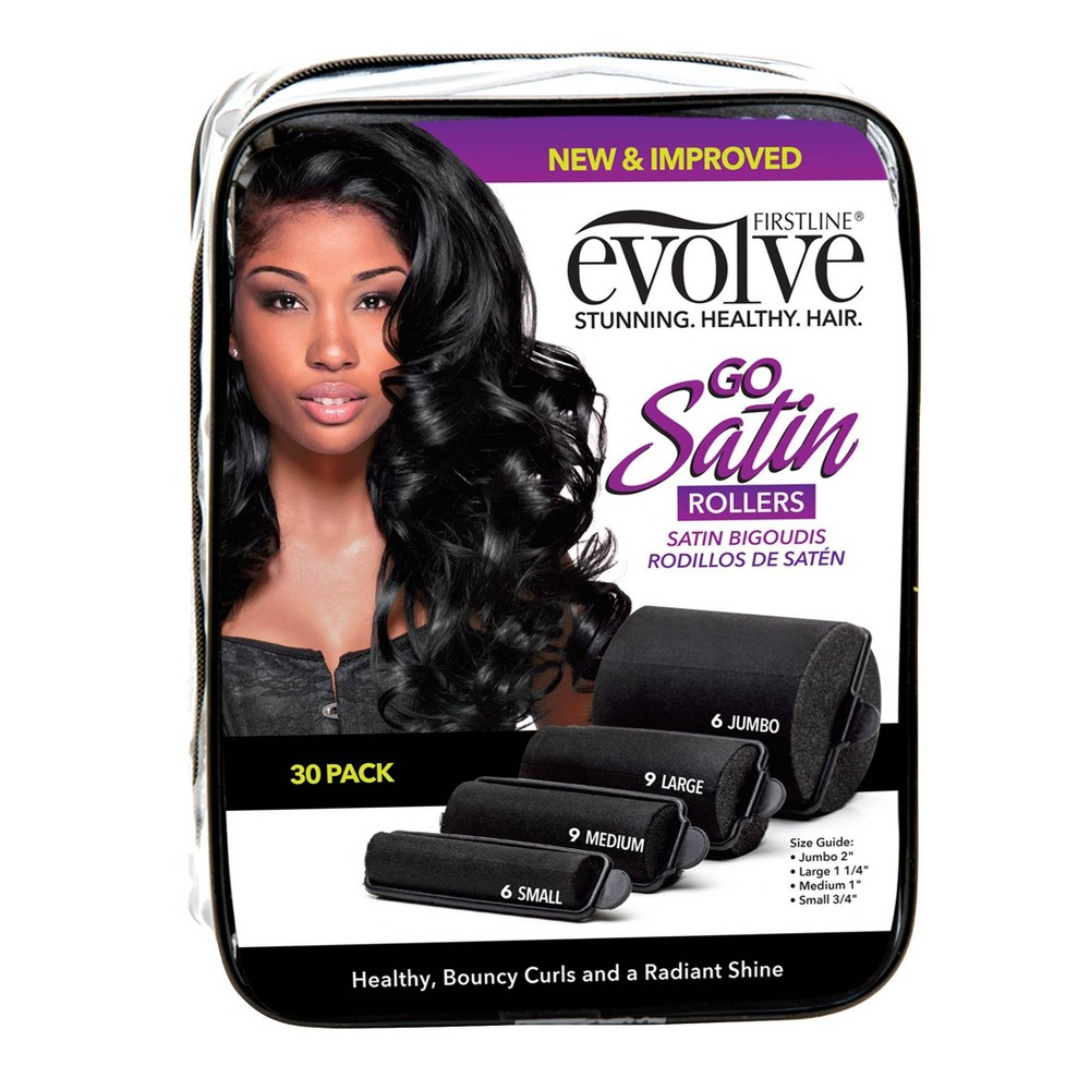 Image of Evolve Satin Rollers - 30ct, Black