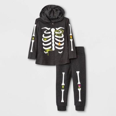 Toddler Boys' 2pc Halloween Skeleton Jersey Long Sleeve Hoodie and Fleece Jogger Pants Set - Cat & Jack™ Black