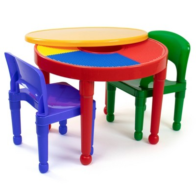 3pc Round Plastic Construction Table With 2 Chairs & Cover - Humble Crew