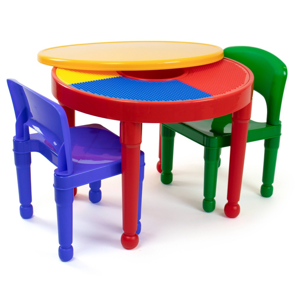 Image of 3pc Round Plastic Construction Table With 2 Chairs & Cover - Humble Crew