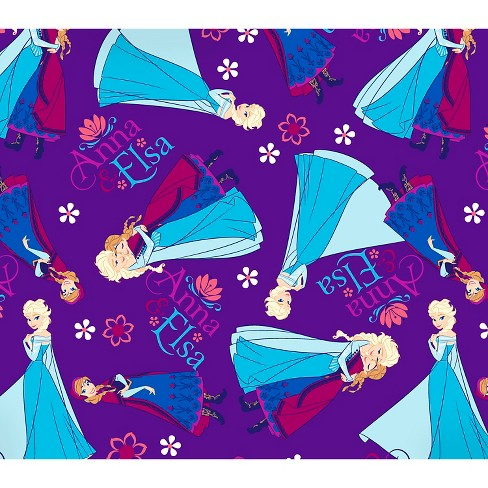 "Disney Frozen Anna & Elsa, Purple, Flannel, 42/43"" Width, Fabric by the Yard - image 1 of 1"