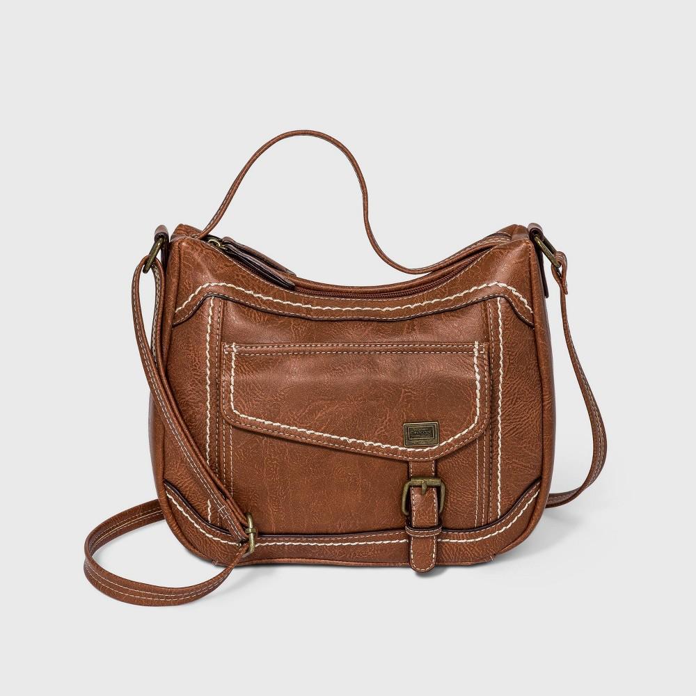 Concept Top Handle Zip Closure Crossbody Bag Brown