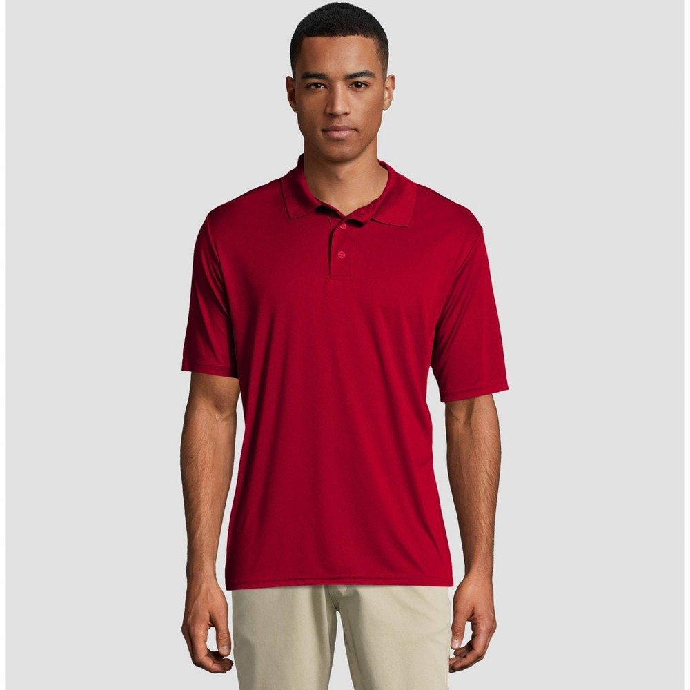 ae44c5e7 Hanes Mens Short Sleeve CoolDRI Pique Polo Shirt Deep Red XL