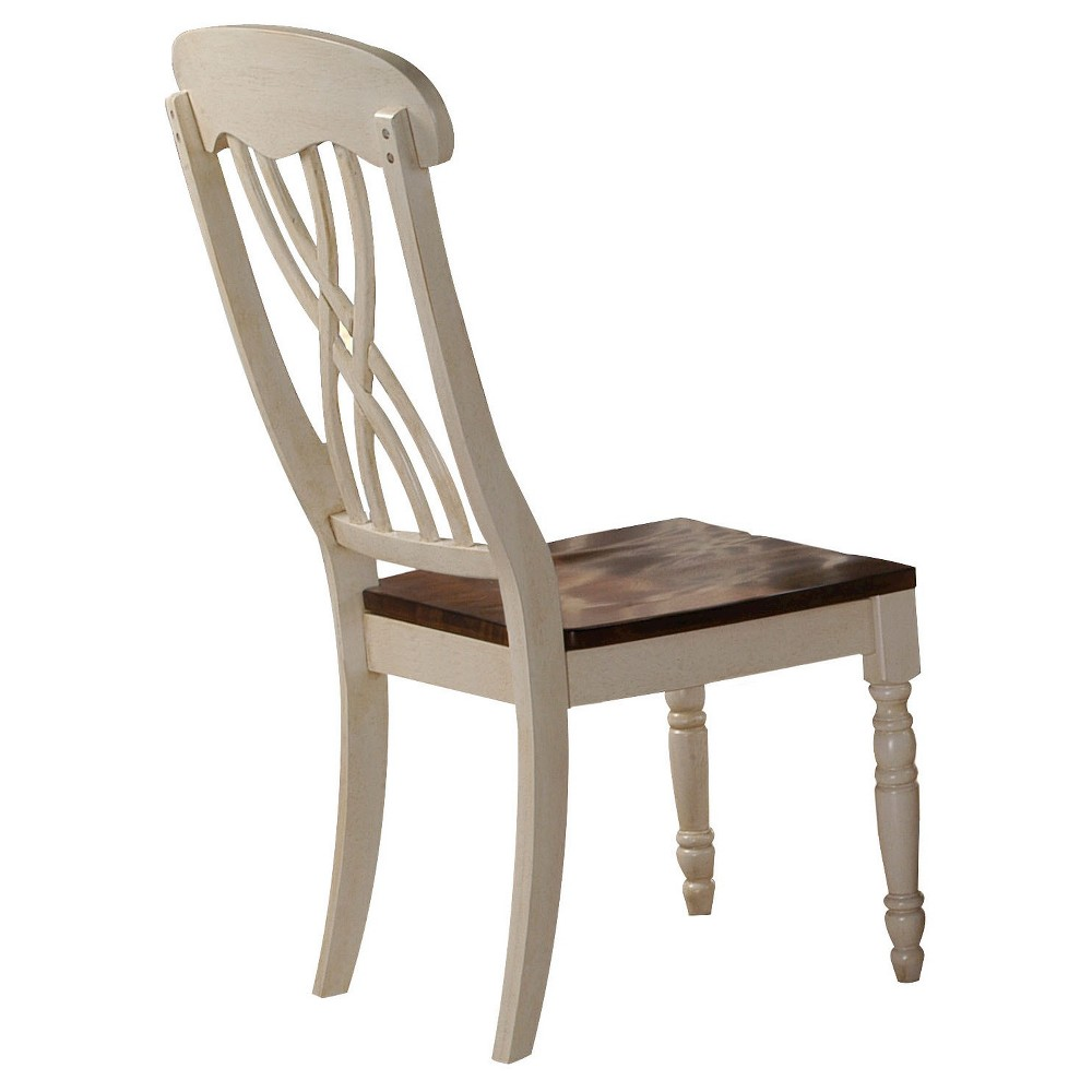 Dylan Side Dining Chair Wood/Buttermilk/Oak (Set of 2) - Acme
