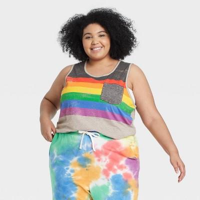 Pride Gender Inclusive Adult Burnout Striped Tank Top - Gray