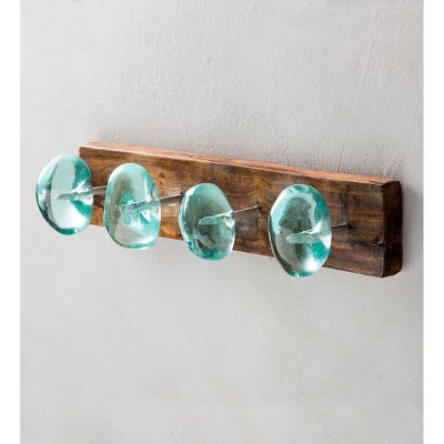 VivaTerra Recycled Glass and Reclaimed Wood Hooks - 4 Hook