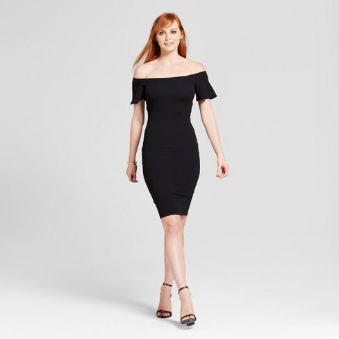 Women S Off The Shoulder Midi Bodycon Dress Necessary Objects Black