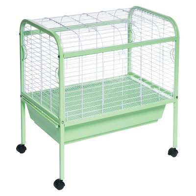 Prevue Pet Animal Cage with Stand - Green/ White - Small